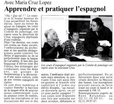 Los cursos de español organizados or el Comité de Hermanamiento han recomenzado con la sonriente Cruz.