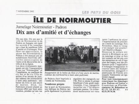 Inauguración de la Balise du Gois y de un ancla de marina, regalos de los normutrinos a sus amigos los padroneses.