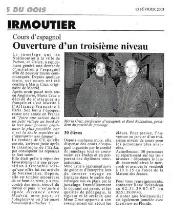 María Cruz, profesora de español, y René Relandeau, presidente del comité de hermanamiento. En este artículo encontramos una pequeña reseña sobre cómo Cruz llegó a parar a Noirmoutier.